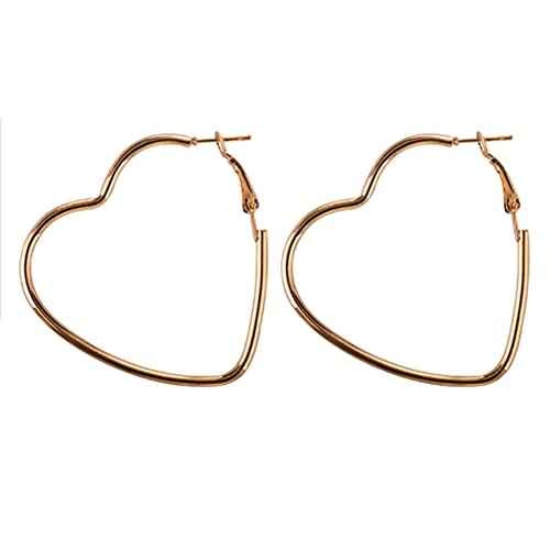 MGZQ Pendientes de aro grandes de metal con forma de corazón para mujer, pendientes clásicos para niñas