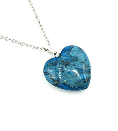 Halskette MALDIVES HEART | Herz | Edelstahl | Naturstein | blau | Malediven Insel Optik | Onyx | Paradies | Kette mit Anhänger | Damen