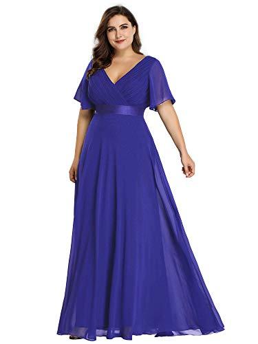 Ever-Pretty Women's Wedding Guest Dresses Formal Dresses Plus Size Sapphire Blue US20