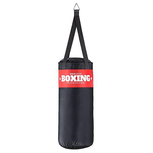 SOGO Sport robuster Boxsack gefüllt, Sandsack, Punching Bag, Boxen, MMA, Kickboxen, Karate, Fitness exklusiv, mit Metalldreieck zum Aufhängen, Größe:XXL (120x35cm/25kg)