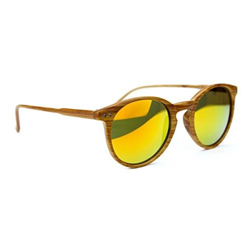 ISURF EYEWEAR Occhiali da Sole Modello 21OTTANTA Wood Effetto Legno Rotondi SPECCHIATI O SFUMATI -vesibilità Piccola (Specchio Arancio)