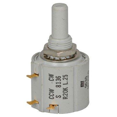 """BI Technologies 7276R500L.25 Potentiometer, 7/8"""" Round Cermet, 2 Watt, 5% Tolerance, Wire Wound, 500 Ohm"""