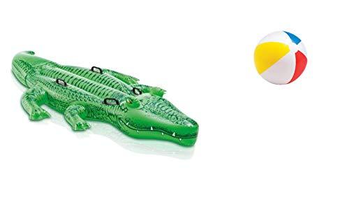 Aufblastier aufblasbare Reittier Tier Krokodil 203 cm Ride-On Schwimmtier Badeinsel Luftmatratze Schwimmliege Wasserspielzeug Spielzeug für Pool Planschbecken Kinderpool See Meer Fluß ideal für Kinder