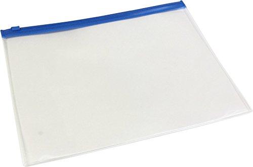 クリアケース (ファスナー付き)透明 A4 青ファスナー 20枚入り h42313