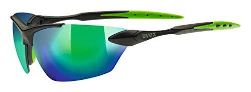 uvex Unisex– Erwachsene, sportstyle 203 Sportbrille, black mat/green, one size