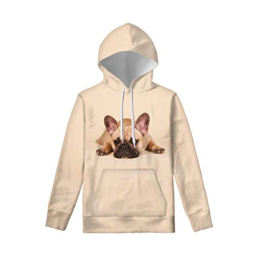 WELLFLYHOM Funny Dog Printed Drawstring Hoodie for Teen Youth Girls 8T 9T 10T Long Sleeve Autumn Spring Clothing Hoodie Sweatshirts Sweater with Pockets French Bulldog Beige