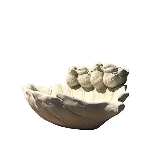L'ORIGINALE DECO Bain à Oiseaux Abreuvoir Mangeoire à Oiseaux Ciment Feuille Terre Cuite 29 cm x 21 cm x 11 cm