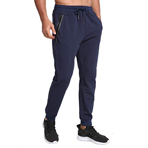 JustSun Jogginghose Herren Sporthose Trainingshose Herren Lang Baumwolle Fitness Hosen mit Reissverschluss Taschen Blau L