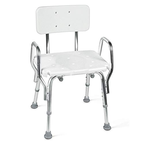 Tub and Shower Chair with Removable Back Rest, Adjustable Seat and Arms, White