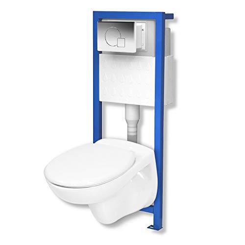 Domino Lavita Vorwandelement inkl. Drückerplatte + Basic-Pro Wand-WC ohne Spülrand + WC-Sitz mit Soft-Close Absenkautomatik Drückerplatte MC (chrom)