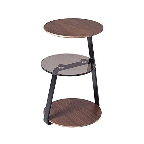 Sdesign Mesa de Centro, Mesa de cóctel Redondo con Estante, Mesa de té, fácil Montaje, Metal, diseño Industrial, marrón rústico