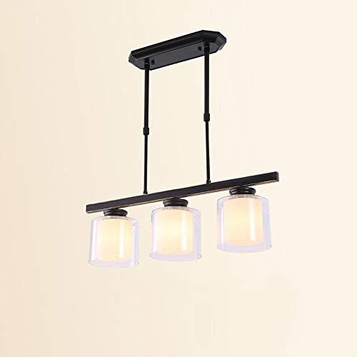 Naiyn Candelabro de Cristal Negro Vintage nórdico de 3 Cabezas Simplicity E27 Luz Colgante Retro para Sala de Estar Cocina Loft Dormitorio Lámpara Colgante Suspensión Accesorio de iluminación