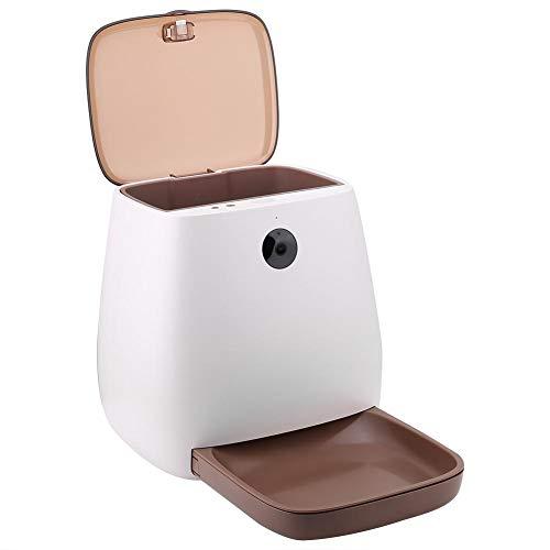 BJGUG Dispenser Cibo Gatti Automatico- Cane Cat Bere App Intelligente per Telecomando con Telecamera per Alimentazione per Cane Gatto,White