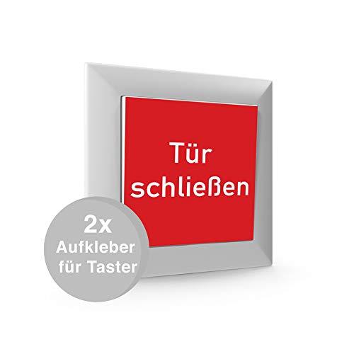 2x Aufkleber für Taster Schalter Brandschutztür Feststellanlage
