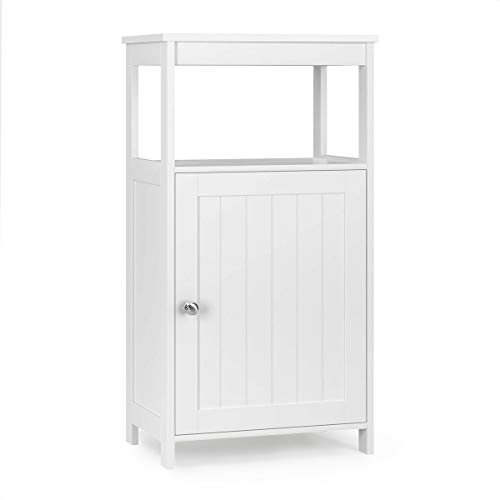 Tangkula Bathroom Floor Storage Cabinet, Multifunctional Free Standing Cabinet with Single Door and Adjustable Shelf, Side Cabinet for Home Living Room Bedroom Office Hotel (White)