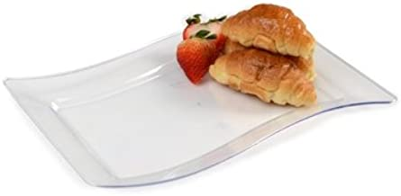 Juego de 10 platos rectangulares de plástico duro con forma de China, 16 x 25 cm, transparentes: Amazon.es: Hogar
