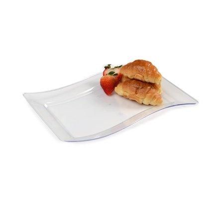 Confezione da 10–elegante duro plastica ondulata piatto da portata rettangolare/vassoi–16,5x 26,7cm (16x 25cm)–trasparente