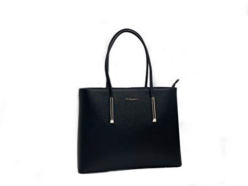 Flora & Co handtas dames shopper elegante tas grote hengseltas voor kantoor school winkelen (zwart)