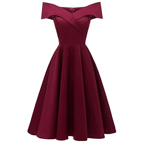 Dames jurk met lange mouwen Dames Off-the-shoulder V-hals Semi-formele Midi Jurk Banket Avondjurk Vrouwen Jurk voor Prom (Kleur: Rode wijn, Maat: L)