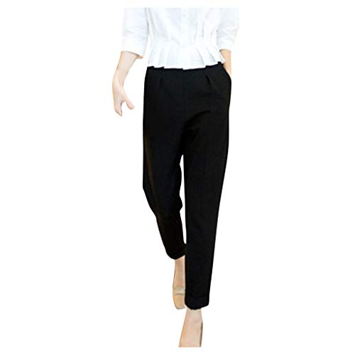 BPOF99 Women's Solid Color Cropped Pants Office Ladies Business Casual Work Pants Pull-On Dress Pants Black