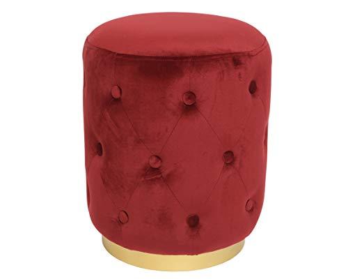 Delamaison MAS4063006 Kruk, velours, rood en goud, 38 cm x 38 cm