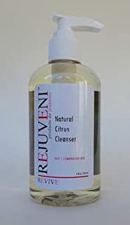 Rejuveni Natural Citrus Cleanser 8oz a mildly foaming daily facial wash that sooths hydrates and heals the skin suitable for all skin types especially oily or combination skin