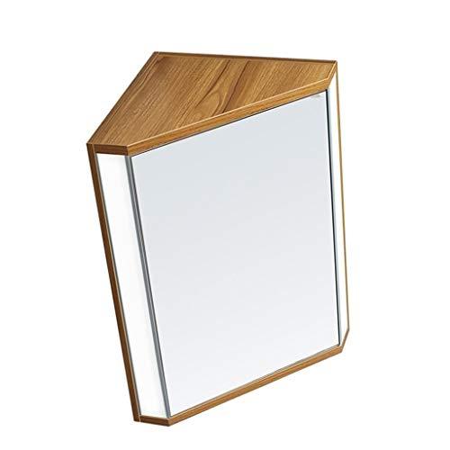 Mirror Cabinets Wandschließfächer Dreieckiger Spiegelschrank Mit Leichtem Toilettenschrank Wandschrank Spiegelschrank Große Kapazität (Color : Wood Color, Size : 47 * 60 * 33cm)
