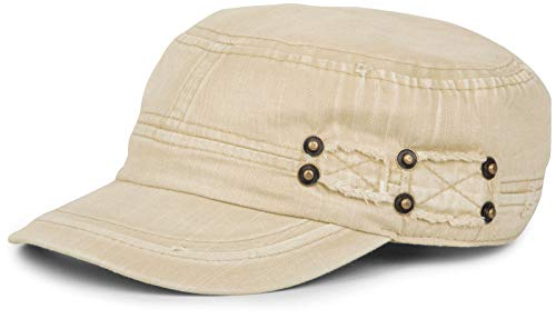 styleBREAKER Military Cap im Washed Destroyed Used Look, Vintage, Risse und Löcher, verstellbar, Unisex 04023011, Farbe:Beige
