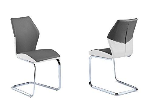 HOMEXPERTS SNAP 2er Set Schwingstühle, Grau mit weißen Akzenten, 45 x 90 x 61cm (BxHxT)