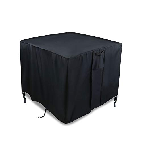 TheElves Square Fire Pit Table Cover, 30x30x25 Inch Waterproof 600D Heavy Duty Patio Gas Firepit Table Cover, Black