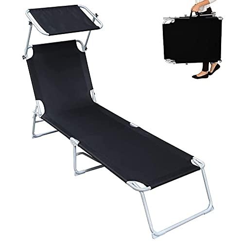 Silla de Camping Plegable Chaise Longue, Tumbona Ajustable con Dosel, Tumbona, Cuna reclinable para Tomar el Sol de Alta Resistencia para Patio al Aire Libre Junto a la Piscina