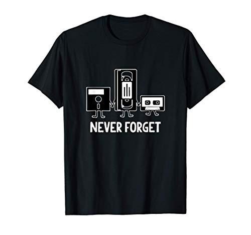 Never Forget Audio Video Cassette Floppy Disc 70s 80s 90s Camiseta