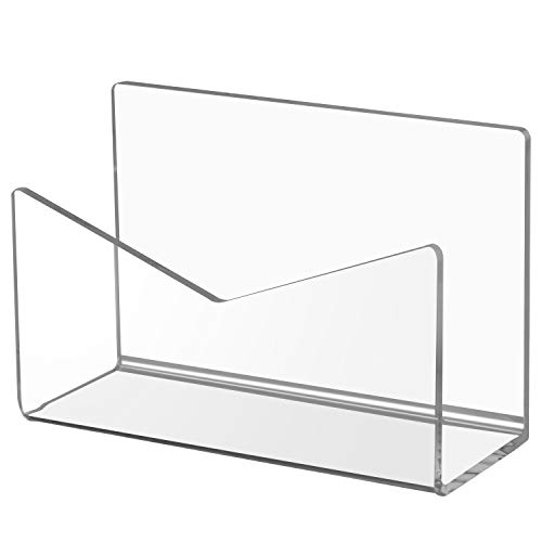 Ktrio Acrylic Mail Holder Mail Organizer Countertop, Letter Holder for Desk 6x2.5x4 Inches Envelope Holder Mail Sorter Stand for Home Office School