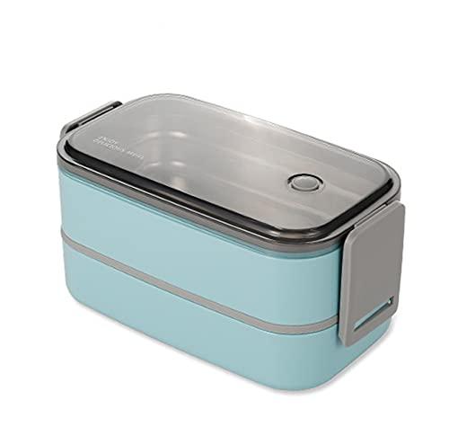 AKAIGH Fiambrera Práctica Bento Box con Contenedor De Acero Inoxidable, Fiambrera De Doble Capa para Escuela, Trabajo, Picnic, Viajes