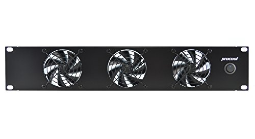 PROCOOL SX380-E / 2U Silent Rack Mount Fan/Airflow = EXHAUST/Home Theater AV Cabinet Cooling Broadcast Network Server Recording Studio Rack Mount Fan Panel 19""