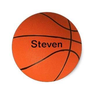3,8 cm Personalizado con tu Nombre Pegatina de Baloncesto
