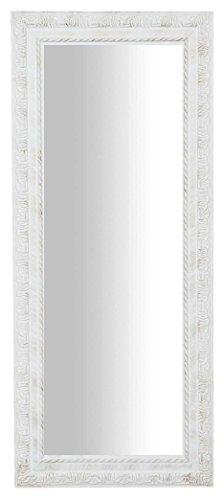 Biscottini Specchio Specchiera da parete con cornice rettangolare in legno 35x2x82 cm finitura bianco anticato da appendere verticale/orizzontale