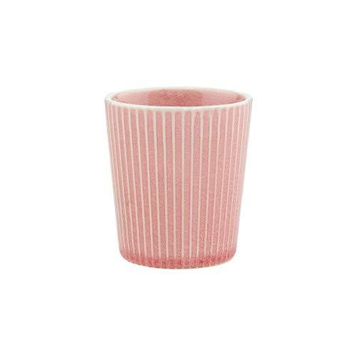 BUTLERS Hanami Teebecher in Pink mit Streifen 200 ml - Asiatische Teetasse aus Steingut - Keramik Becher, Kaffeebecher