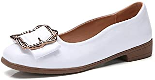 Casual Shoes Versatile Comfortable Metal Buckle Shallow Mouth PU Casual Shoes for Women (Color:Beige Size:36) Casual Shoes