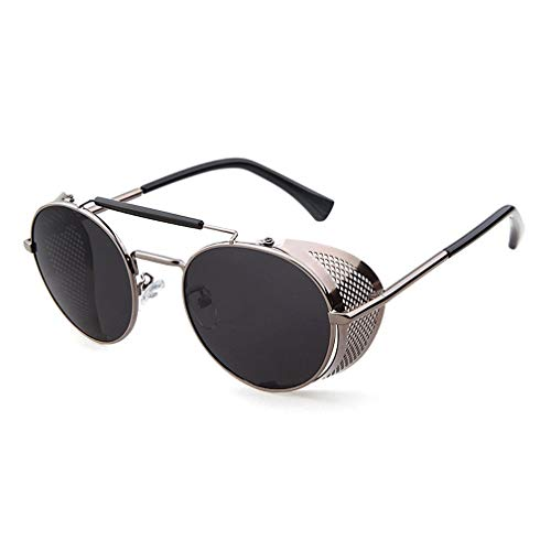 Ibeauti Retro Round Steampunk Sunglasses Side Shield Goggles Gothic Sunglasses (Gunmetal)