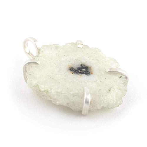 STALAGTITE Slice Of QUARTZ /& Banded Agate Pendant  Sterling SILVER Open Frame  Lovely Crystal Edge wPale Amethyst Color Either side wear