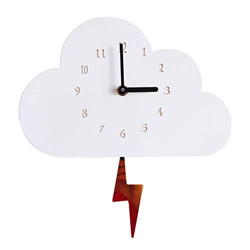 Amusingtao Reloj de pared estilo nórdico dormitorio decoración del hogar con pilas regalo niños om con swing flash lindo madera nube cocina guardería oficina silenciosa