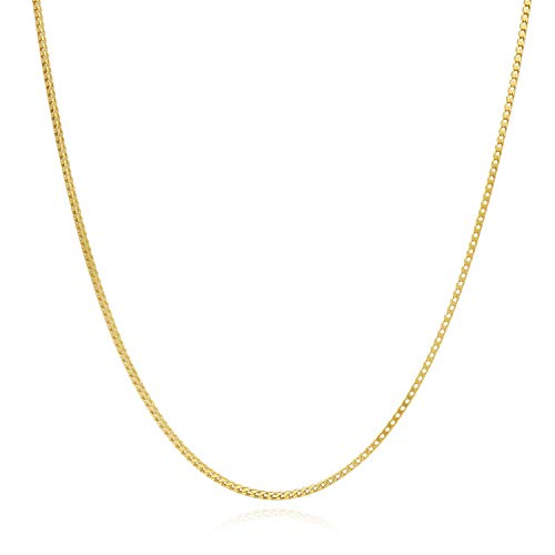 "Solid 14K Yellow Gold Over Silver 1.2mm Franco Link Chain Necklace 16""-30"", 20"
