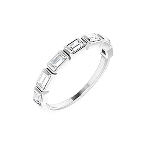 Anillo de oro blanco de 14 quilates con diamante pulido de 3 x 2 mm de 0,5 quilates para aniversario, tamaño N 1/2, joyería de regalo para mujer