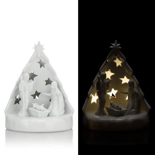 Online-Fuchs Krippe mit Figuren aus Porzellan gefertigt inkl. LED-Beleuchtung und Timer