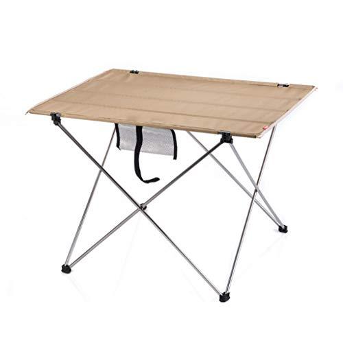 Table Pliante Portable Camping Outdoor Table d'ordinateur de Pique-Nique en Aluminium de Bureau Pliant Ultra léger (Color : Beige-A, Taille : L)