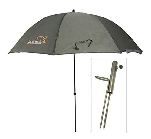 Hokkaido Paraguas de pesca Ø250 cm Paraguas de pesca con soporte paraguas/soporte. Material protector contra la lluvia y los rayos UV, 4 hombres y equipaje de carpa + Etui 15036