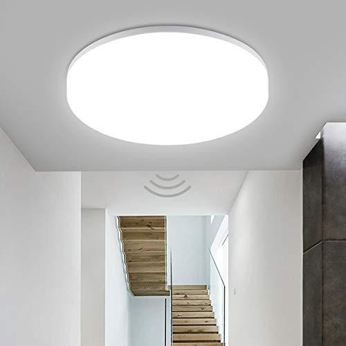 Oeegoo LED Lámpara de Techo con Sensor de Movimiento 360 °, resistente al agua IP44, 18W 1800LM Plafón de Techo Ajustable para Baño Pasillo Escalera Balcón Bodega Neutro Blanco 4000K