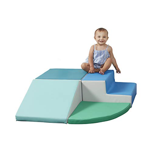 SoftScape Toddler Playtime Corner Climber, Indoor Active Play Structure for Toddlers and Kids, Safe Soft Foam for Crawling and Sliding (4-Piece Set) - Contemporary/Green