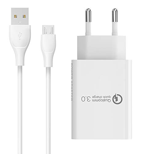 BERLS 5V 3A Cargador con Micro USB Cable para Samsung Galaxy A5, A5 2016, A5 Edge, S6, S6 Edge, S7, S7 Edge; Sony, HTC, Nokia, Huawei, ASUS, Motorola, Blackberry…